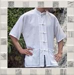 เสื้อผ้าฝ้ายสีขาว สีล้วน เสื้อผ้าฝ้าย ผู้ชาย เสื้อพื้นเมือง